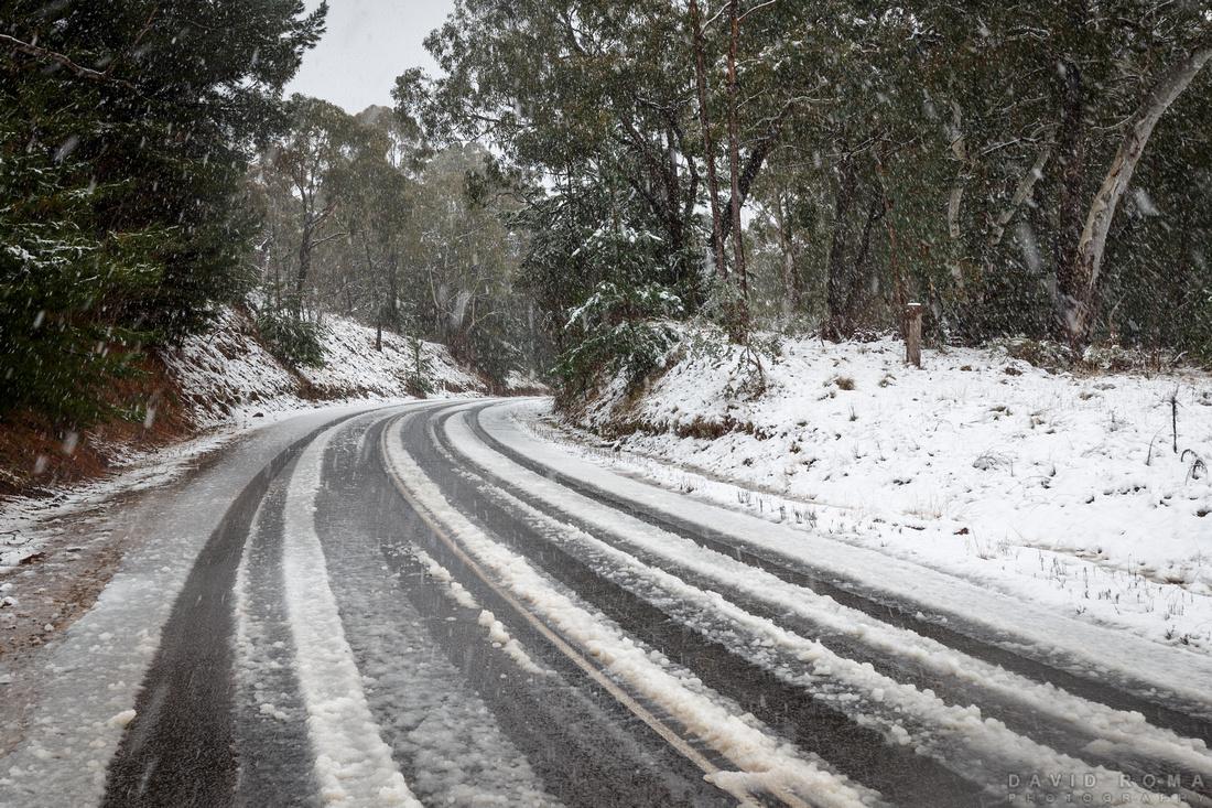 Snowy tar road Mt. Canobolas