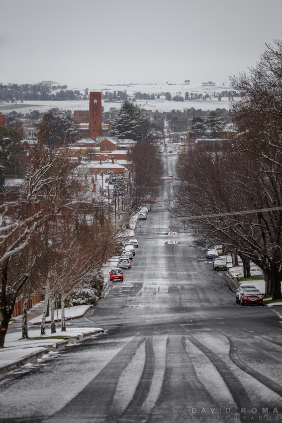 Bathurst city under snow
