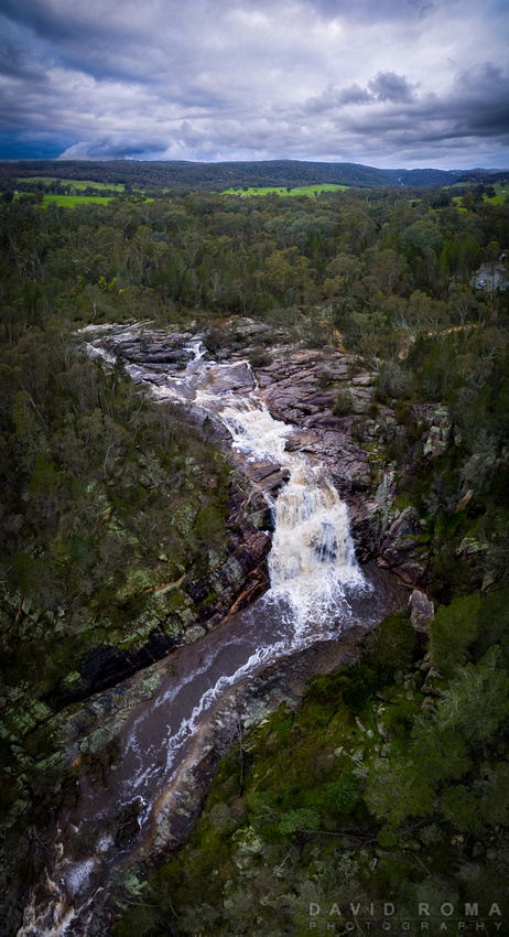 Woolshed Waterfalls from above